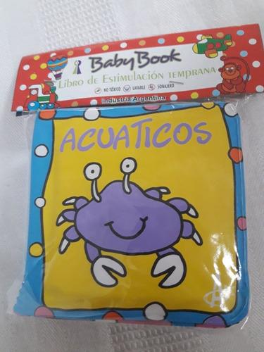 libros bebe plastico didactico p/  baño y tela c/ sonajero