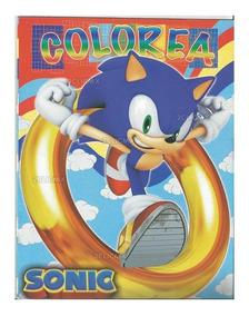 Libros Colorear 16 Pags Sonic Azul Anillo Amarillo