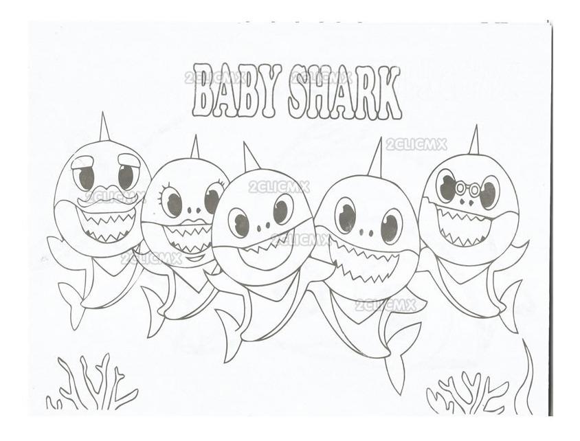 Libros Colorear Baby Shark 2 16 Pag Recuerdos Bolo Fiesta