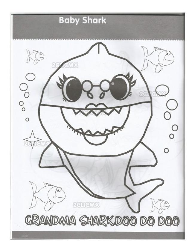 Libros Colorear Baby Shark 4 16 Pag Recuerdos Bolo Fiesta
