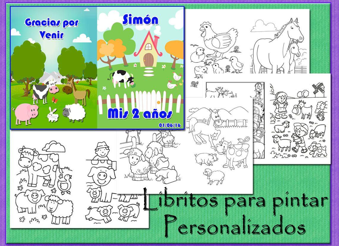 Libros Colorear Personalizados Animales Granja Selva - $ 140,00 en ...