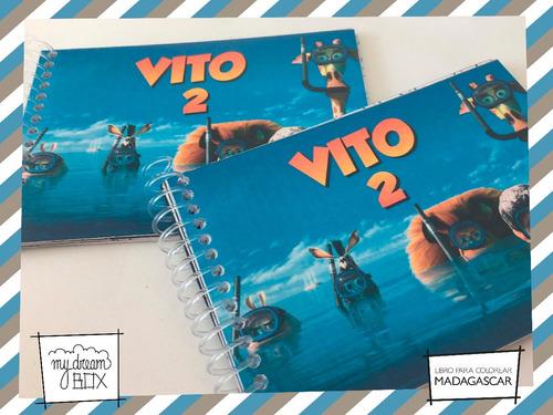 libros colorear souvenir cumple infantil madagascar melman