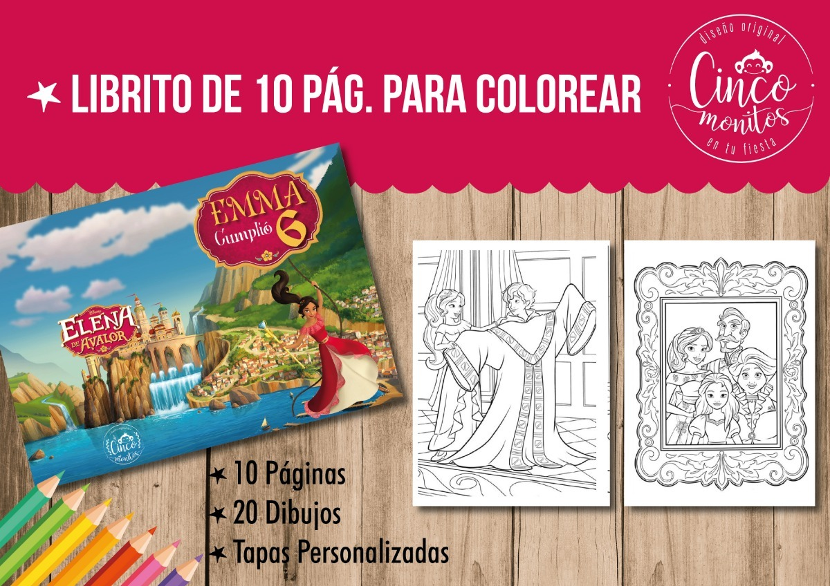 Libros Para Pintar Colorear Elena De Avalor Cumpleaños 15x21