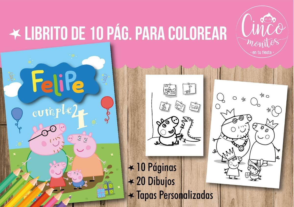 Libros Para Pintar Personalizados Peppa Pig Cumpleaños 15x21