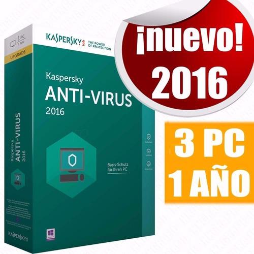 licencia kaspersky antivirus 2017 3 pc 1 año original key