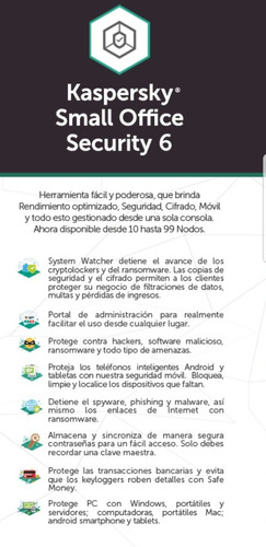 licencia kaspersky small office 6 for 5 pcs 1 server 2 años