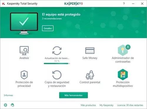 licencia kaspersky total security 2019 3 pc 1 año original