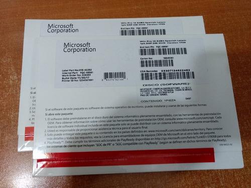 licencia microsoft windows 10 pro 64bits spanish latam dvd