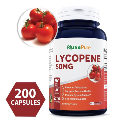 licopeno lycopene 50mg 200 pastillas próstata antioxidante