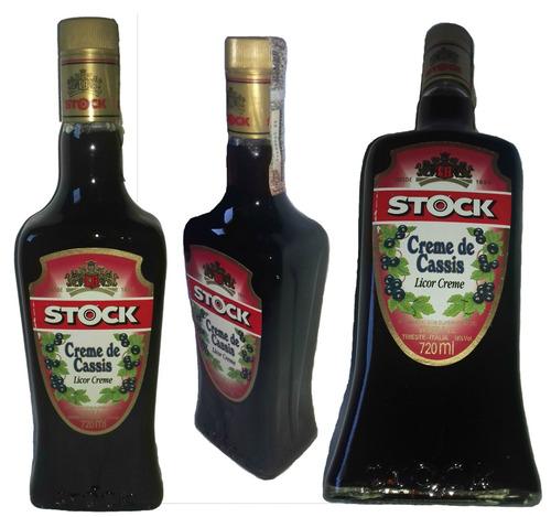 licor stock creme de cassis+brinde 2 licor marula bid