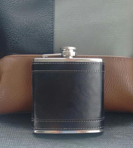 licorera de bolsillo forro en cuero 6oz acero inoxidable