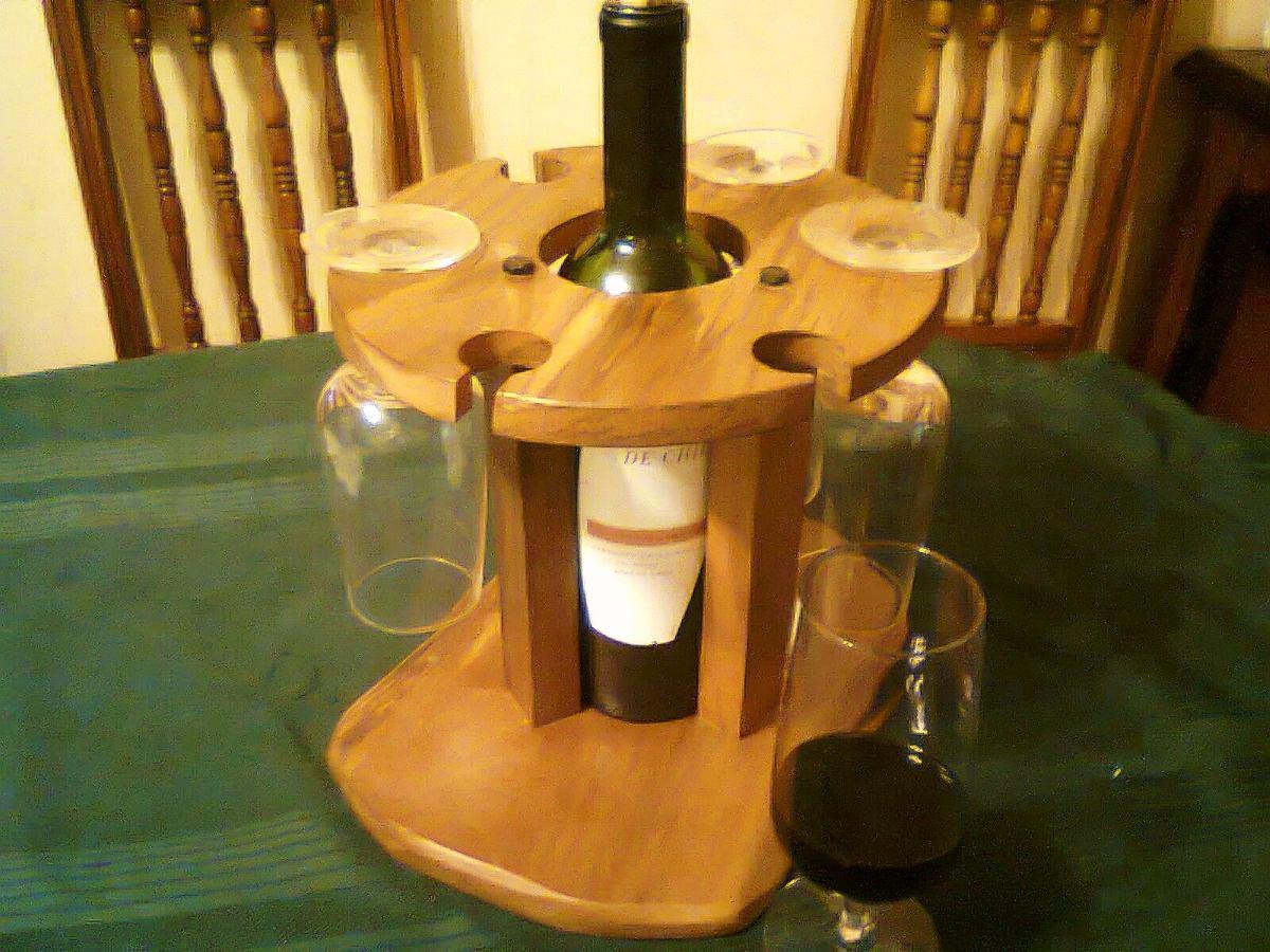 Licorera de mesa porta botella copas en madera nativa for Bar de madera chile