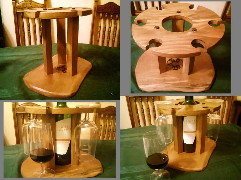 Licorera de mesa porta botella copas en madera nativa for Bar madera nativa
