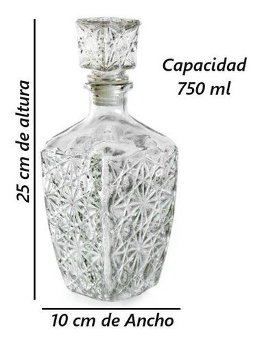 licorera decantador c/ tapa cristal diamante de vidrio 750ml