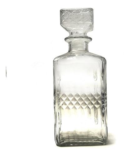 licorera decantador vintage de cristal, cuadrada 920ml