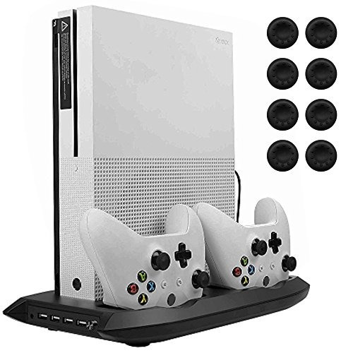 lictin xbox one s vertical stand cooling fan with dual charg