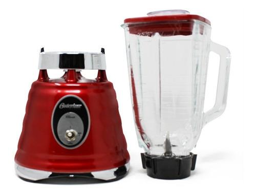 licuadora 1 velocidad + pulso metálica vaso de vidrio redonda roja oster 4126-13