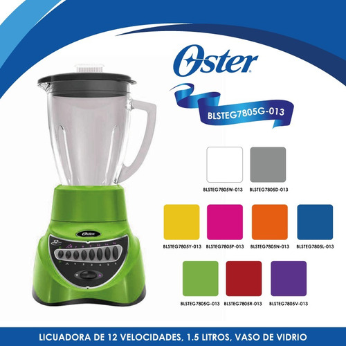 licuadora 12 vel vaso vidrio verde oster blsteg7805g-013