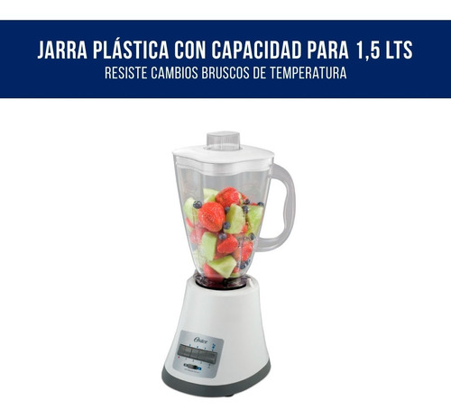 licuadora oster blstmp 8vel blanca 450w 1,5l pica hielo pce