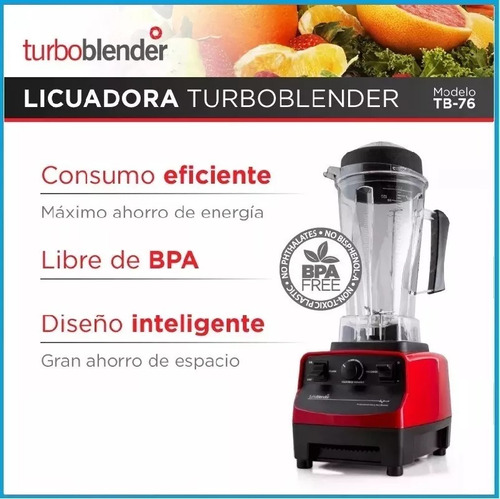 licuadora profesional turboblender tb-76 jarra 2 litros potencia 3hp uso comercial