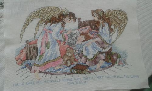 lienzo bordado a mano en punto de cruz