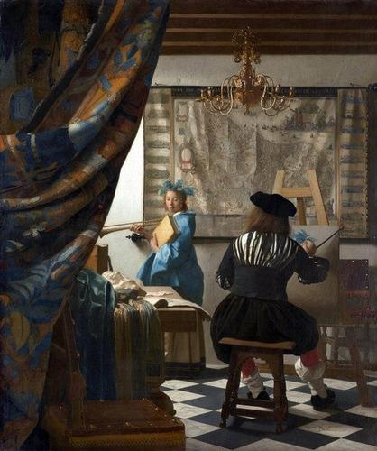 lienzo canvas el arte de pintar jan vermeer  50x60cm