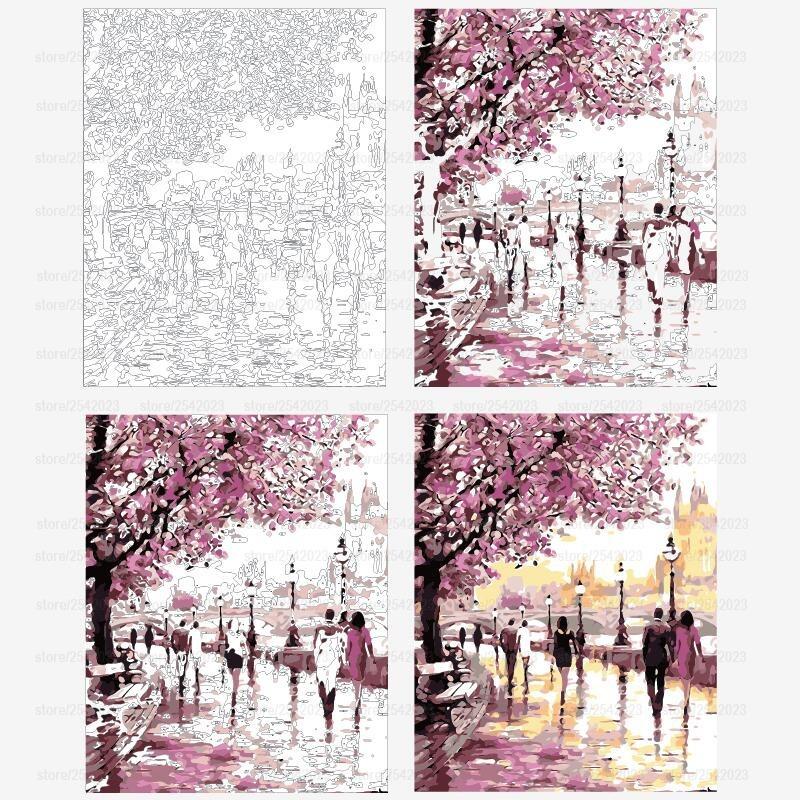 Lienzo Para Pintar Por Números árbol Rosa Paisaje