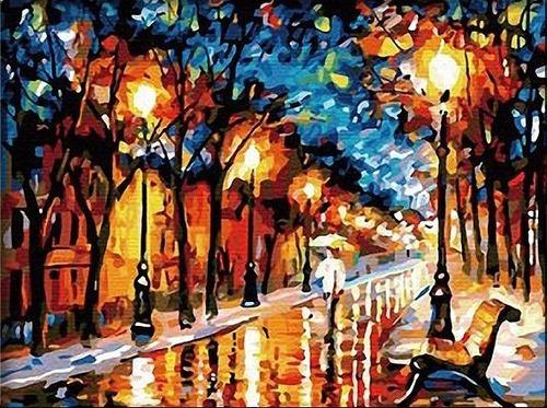 lienzo para pintar por números noche lluviosa