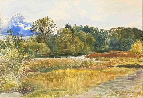 lienzo tela acuarela paisaje otoñal stanislaw maslow 1902