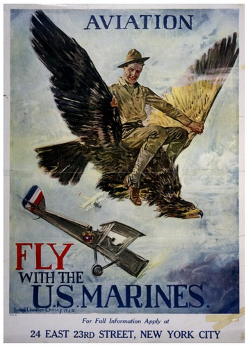 lienzo tela anuncio fly us marines 1920 70 x 50 poster avión