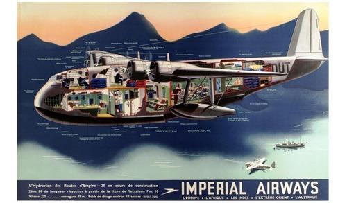 lienzo tela anuncio imperial airways inglaterra 50x70 avión