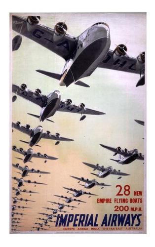 lienzo tela anuncio imperial airways inglaterra 80x50 avión