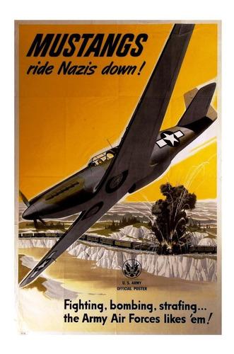 lienzo tela anuncio us army air force avión mustang 75x50