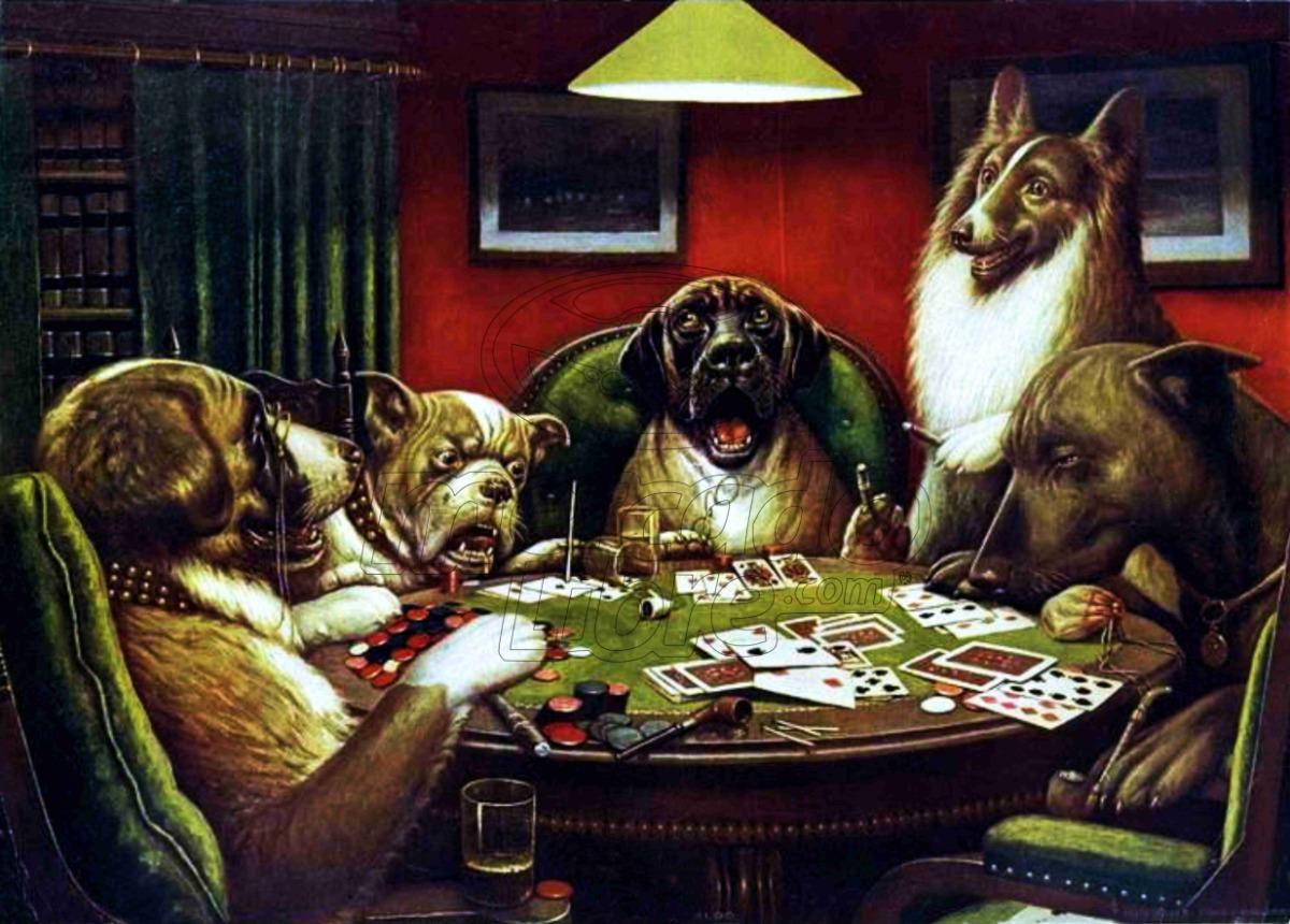 Lienzo Tela Arte Canvas Perros Jugando Poker 1900 45 X 63 Cm