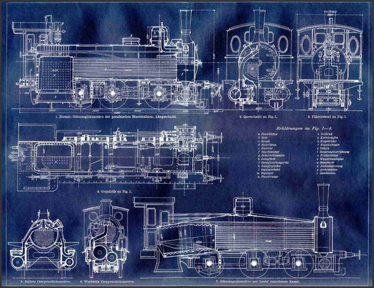 Lienzo tela blueprint locomotora alemana 1900 50 x 55 cm 60000 cargando zoom malvernweather Image collections