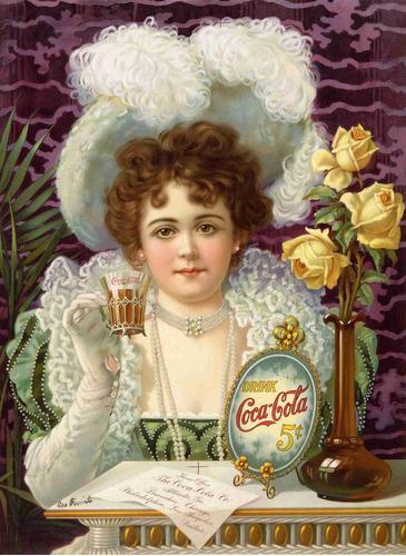 lienzo tela canvas anuncio coca cola 5 centavos 1900 69x50