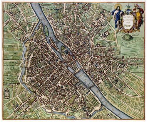 lienzo tela canvas arte plano mapa antiguo parís 1657 50x60