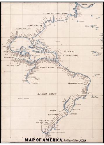 lienzo tela canvas arte plano mapa de américa 1529 70 x 50