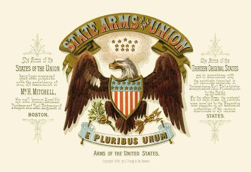 lienzo tela canvas escudo armas unión americana 1876 50x73