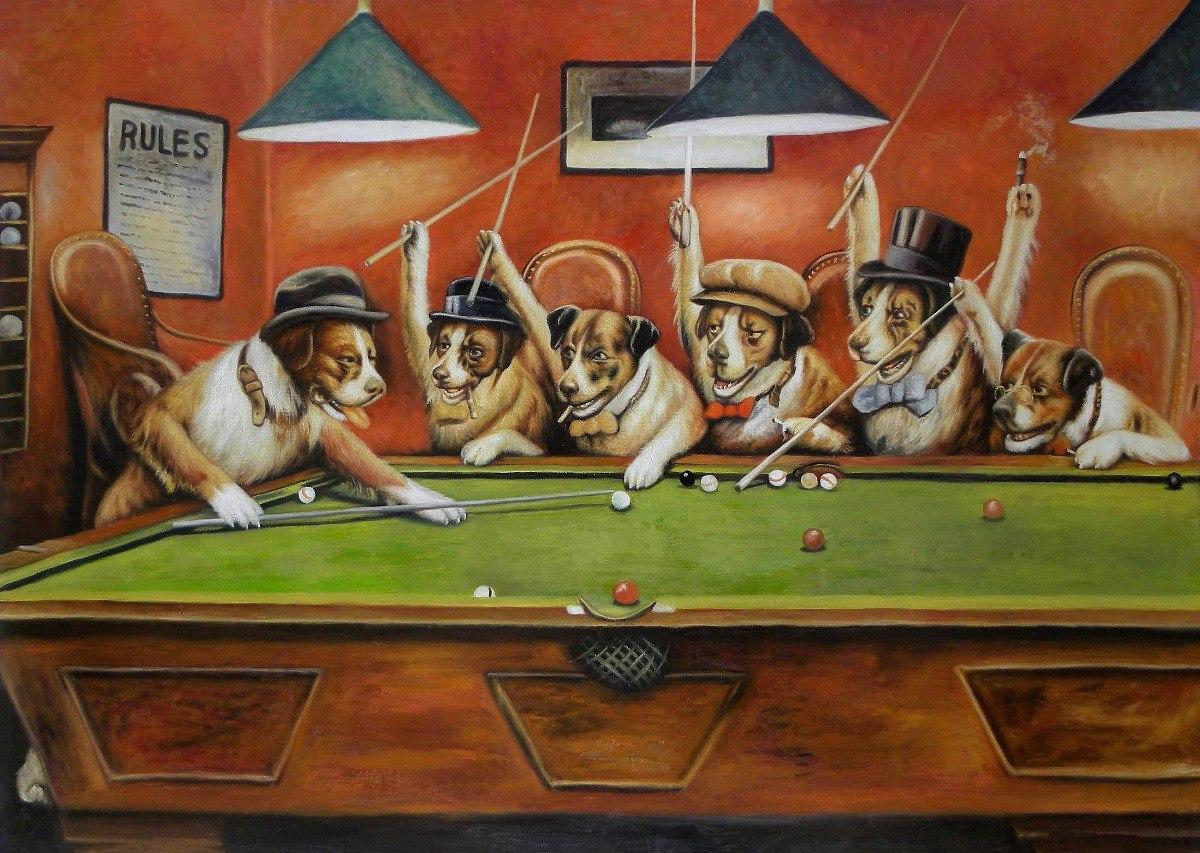 Lienzo Tela Canvas Perros Jugando Pool 1894 64x90cm 750 00 En