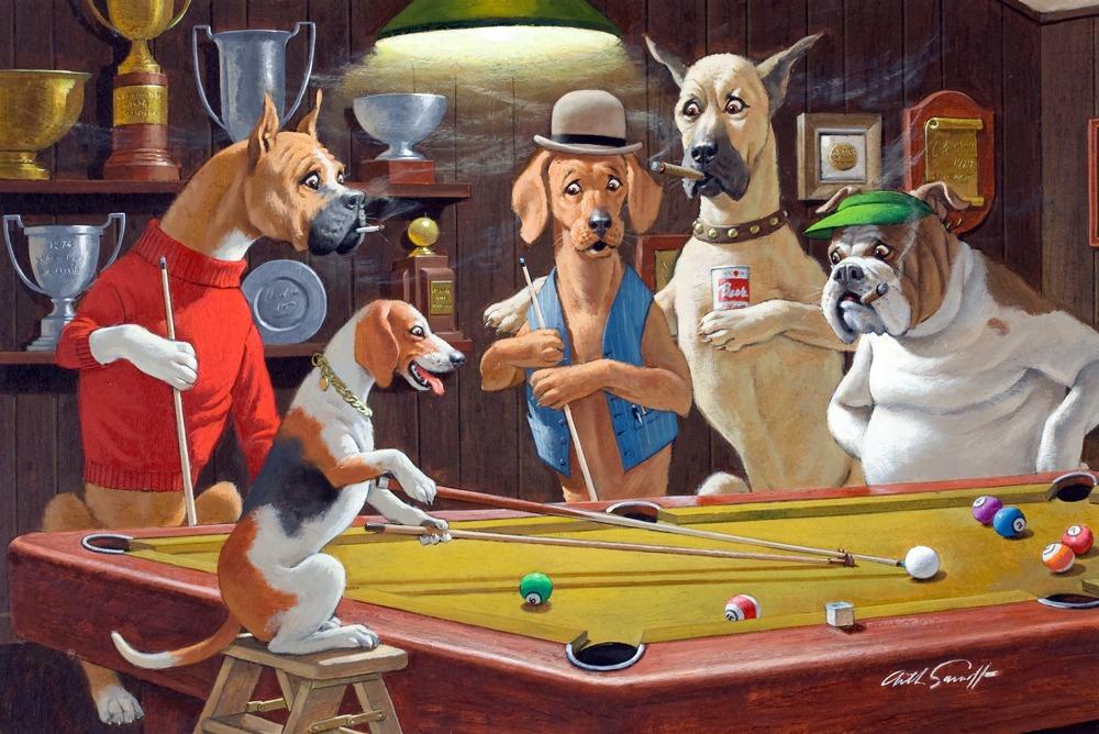 Lienzo Tela Canvas Perros Jugando Pool 748 00 En Mercado Libre