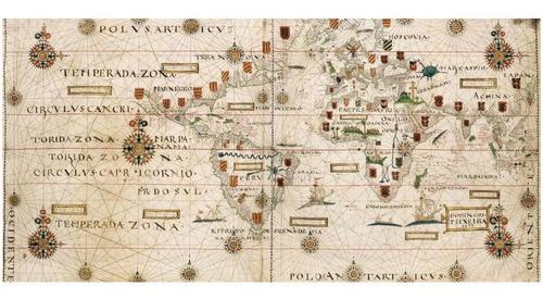 lienzo tela canvas planisferio mapa teixeira 1573 45 x 90