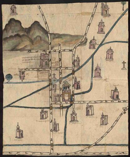lienzo tela canvas plano mapa culhuacán méxico 1578 60 x 50