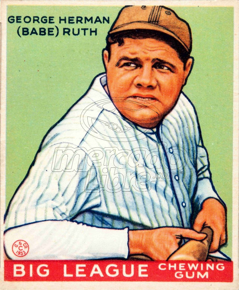 Lienzo Tela Canvas Poster Tarjeta Béisbol Babe Ruth 1933 - $ 800.00 ...