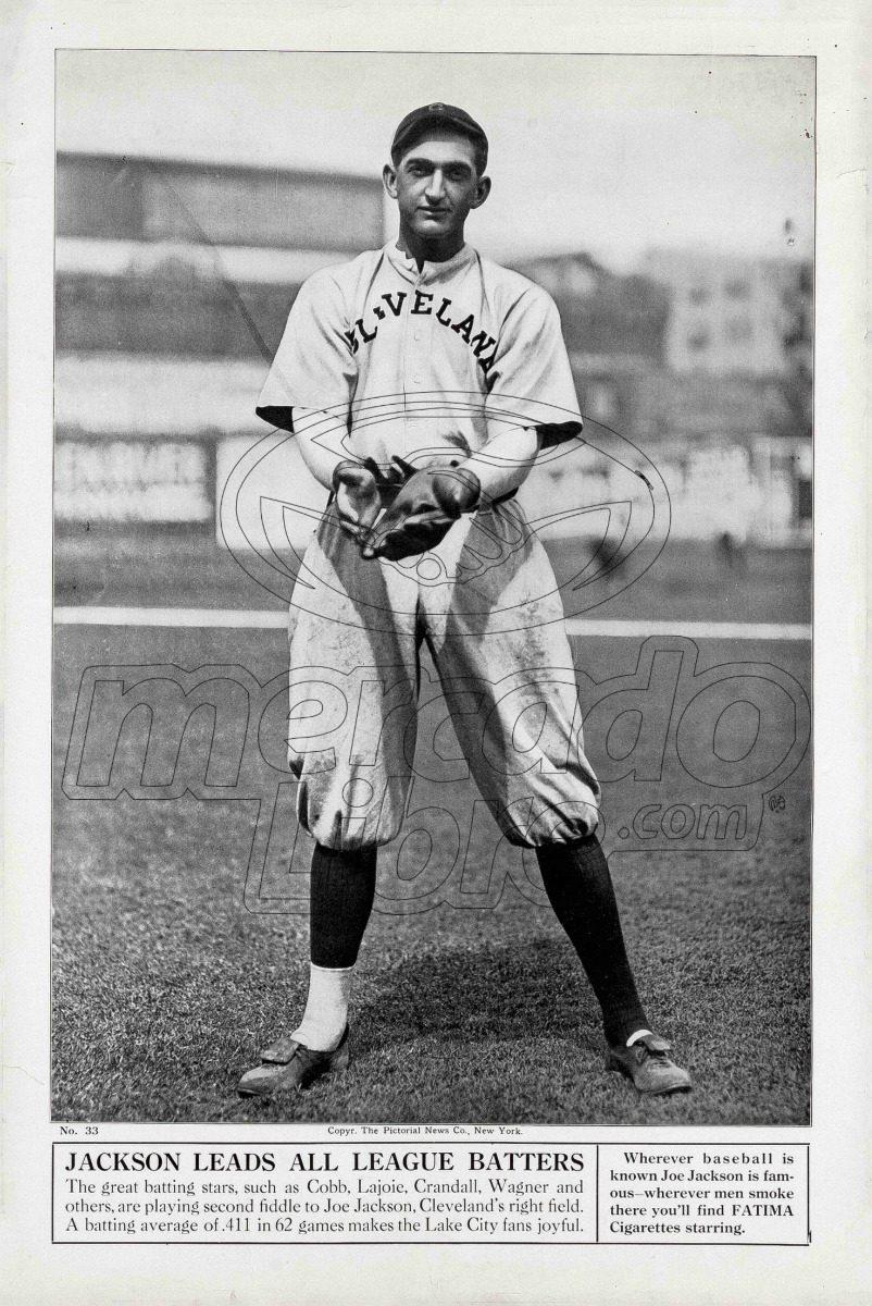 Lienzo Tela Canvas Poster Tarjeta Béisbol Joe Jackson 1913 ...