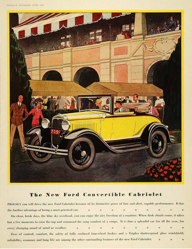 lienzo tela canvas publicidad anuncio ford cabriolet 1930