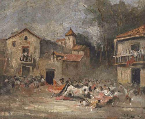lienzo tela canvas tauromaquia toros fiesta brava 1868 50x61