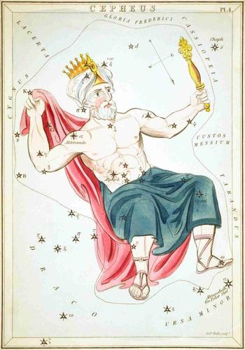 lienzo tela constelaciones cepheus año 1825 50x72 astronomía