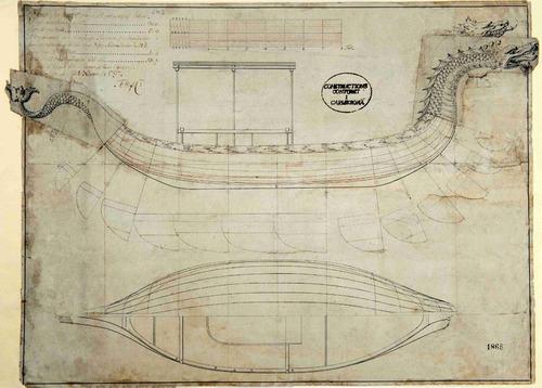 lienzo tela dibujo barco remos draken construcción naval