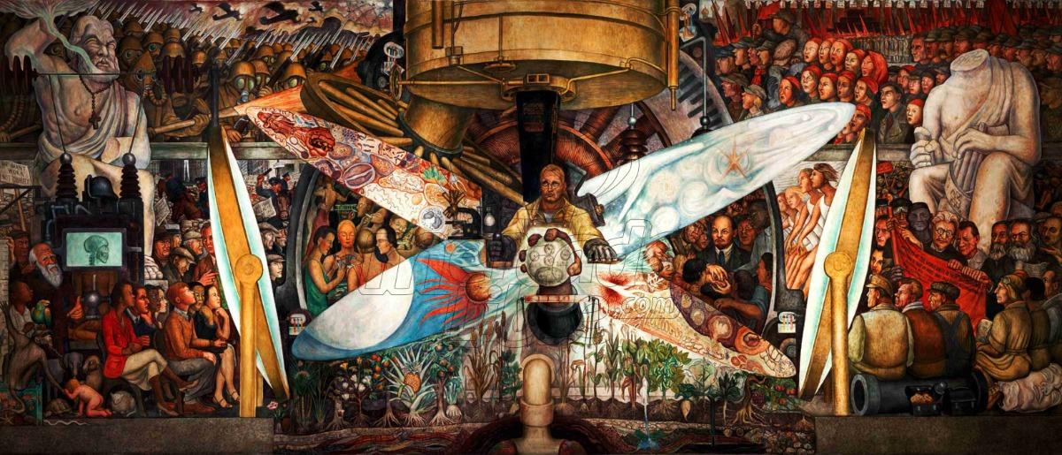 Lienzo Tela Diego Rivera Hombre En La Encrucijada 50 X 110